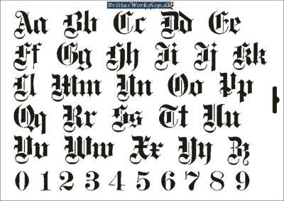 32 Gamle bokstaver stencil / skabelon