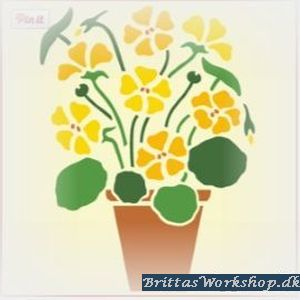 "48 Blomst ""Gul"" stencil / skabelon"