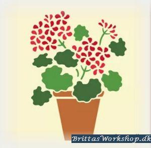 """51 Blomst """"Rød"""" stencil / skabelon"""