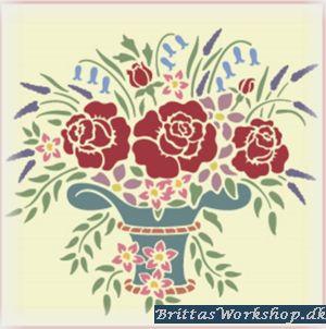 58 Smuk Blomster stencil / skabelon stor