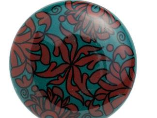 Rød / Turkis møbelknop med blomster